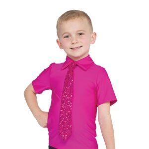 12758  Guy Sequin Tie Shirt Back Fuchsia