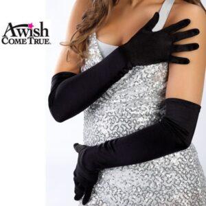 Black Nylon Lyrca Long Gloves 2