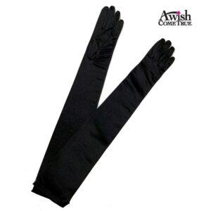 Black Satin Lyrca Long Gloves