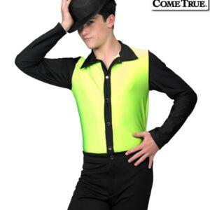 17660  Jump Boys Mens Performance Dance Shirt Glo Lime