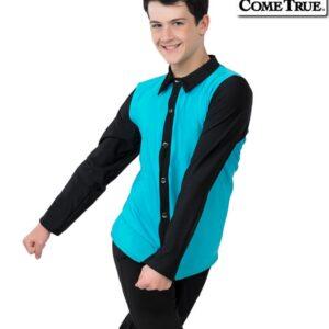 17660  Jump Boys Mens Performance Dance Shirt Turquoise