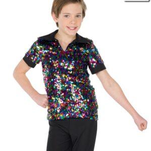 19221  Multicolour Sequin Mesh Guy Shirt Boys Mens Jazz Tap Dance Top