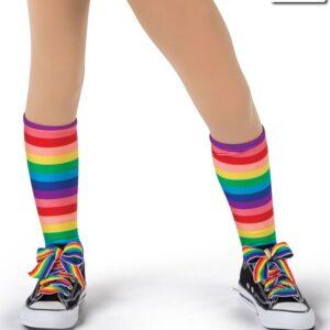 19225S  Rainbow Striped Socks Kids Jazz Tap Costume Accessory