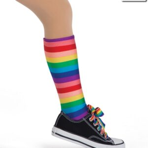 19225S  Rainbow Striped Socks Kids Jazz Tap Costume Accessory Side