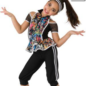 20368  Recess Hip Hop Foil Graffiti Print Dance Costume
