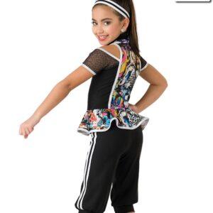 20368  Recess Hip Hop Foil Graffiti Print Dance Costume Back