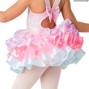 20369T  Sweet And Sassy Ribbon Trimmed Organza Tap Dance Tutu Skirt Back
