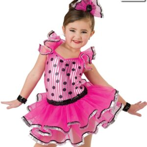 20379  Twist And Shout Foil Striped Polka Dot Tap Dance Costume