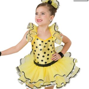 20379  Twist And Shout Foil Striped Polka Dot Tap Dance Costume Yellow