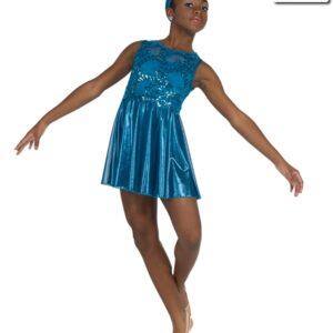 20391  My Hands Sequin Foil Lace Lyrical Dance Dress Teal