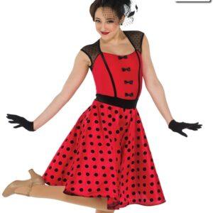 20400  Swing With Me Flocked Polka Jazz Dance Dress Red