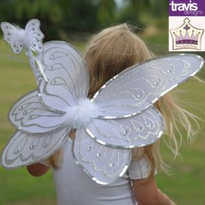 Silver/White Wing & Wand Set Dress Up Costume Accessory