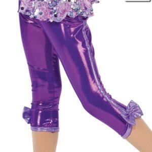 20427P  Whistle Foil Lycra Jazz Dance Capri Pants Purple
