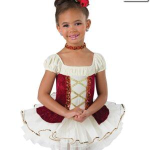 20448  Something There Short Velvet Embossed Kids Ballet Tutu