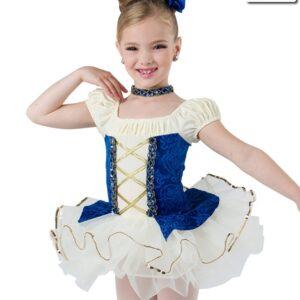 20448  Something There Short Velvet Embossed Kids Ballet Tutu Royal Blue