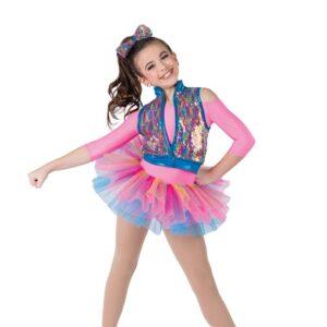 21631  Sorry Not Sorry Rainbow Flip Sequin Kids Tap Dance Costume