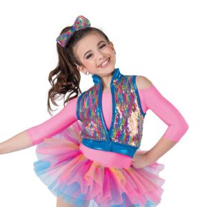 21631  Sorry Not Sorry Rainbow Flip Sequin Kids Tap Dance Costume A