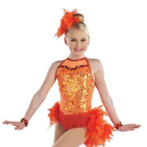 21639  Lets Get Loud Glitz Sequin Kids Tap Jazz Dance Costume Orange