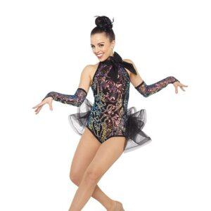 21640  Thats Life Iridescent Sequin Swirl Jazz Tap Dance Costume Black