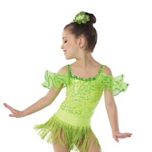 21641F  Yes We Can Foil Wasitband Jazz Tap Dance Fringe Skirt