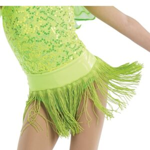 21641F  Yes We Can Foil Wasitband Jazz Tap Dance Fringe Skirt Glo Lime