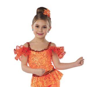 21641HP  Yes We Can Sequin Peplum Foil Lycra Jazz Tap Dance Hot Pant Glo Orange