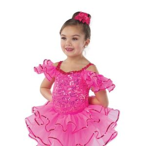 21641T  Yes We Can Sequin Trimmed Organza Tap Dance Tutu Skirt Glo Cerise