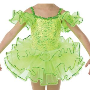 21641T  Yes We Can Sequin Trimmed Organza Tap Dance Tutu Skirt Glo Lime