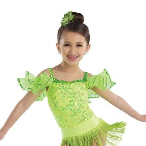21641  Yes We Can Sequin Lace Jazz Tap Dance Leotard Glo Lime