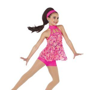 21646  What It Wants Glitz Sequin Mesh Dance Shortall Glo Cerise