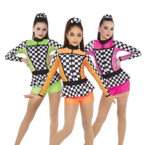 21665  A Finish Line Chequered Sequin Spandex Dance Shortall