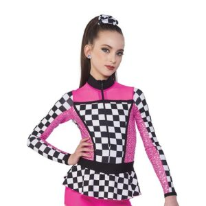 21665  Finish Line Chequered Sequin Spandex Dance Shortall Hot Pink