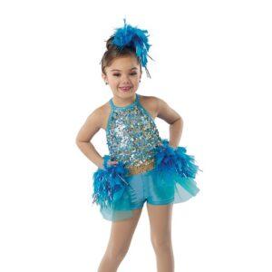 21671  Flock Together Hologram Sequin Kids Jazz Dance Costume Light Turquoise