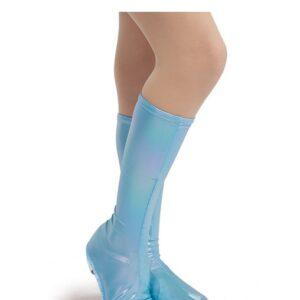 21698B  Irridescent Foil Lycra Boot Covers Light Blue