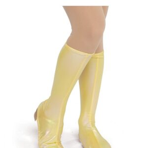 21698B  Irridescent Foil Lycra Boot Covers Yellow