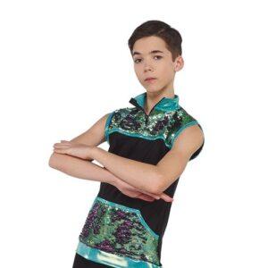 21711 DJ Fresh Hologram Flip Sequin Performance Hip Hop Guy Top A
