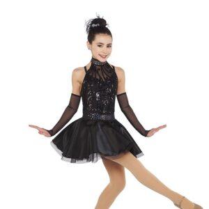 21725  Good Times Back Sequin Scroll Mesh Jazz Tap Dance Dress Black