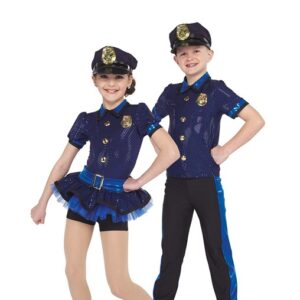 21739  Keystone Cops Police Kids Character Performance Dance Costume With Boy
