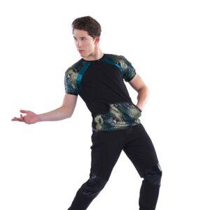 21769  Godzilla Guy Foil Snake Print Hip Hop Dance Top
