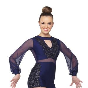 21771  Nobody But You Embroidered Sequin Jazz Dance Shortall Navy