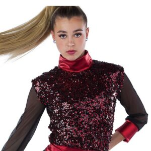 21772  Look At Her Now Paillette Sequin Hip Hop Performance Dance Costume Red Top