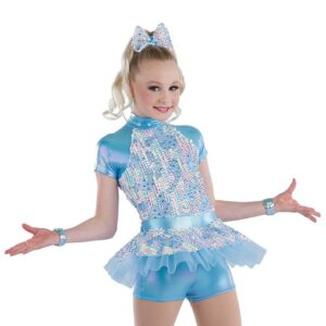 21774  Summertime Blues Mixed Rainbow Sequin Kids Jazz Dance Costume A