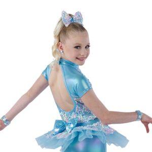 21774  Summertime Blues Mixed Rainbow Sequin Kids Jazz Dance Costume Back