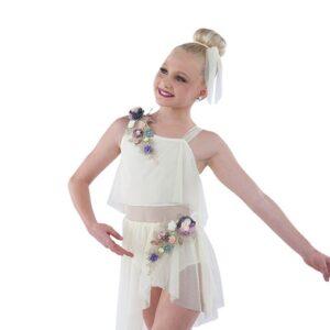 21788  Slide Away Mesh Lyrical Dance Dress Ivory