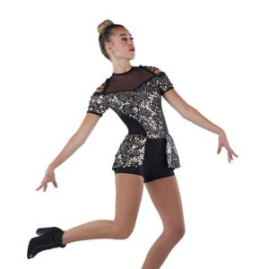 21793  Me And You Glitz Sequin Mesh Jazz Dance Costume Black Gold