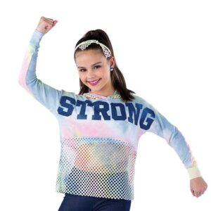 21811  Stronger Tiedye Mesh Hip Hop Performance Hoodie A