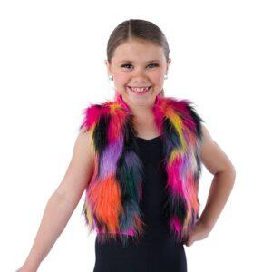 21819Y  Hold The Drama Multicolour Faux Fur Hip Hop Performance Dance Vest