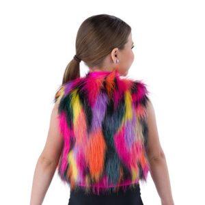21819Y  Hold The Drama Multicolour Faux Fur Hip Hop Performance Dance Vest Back