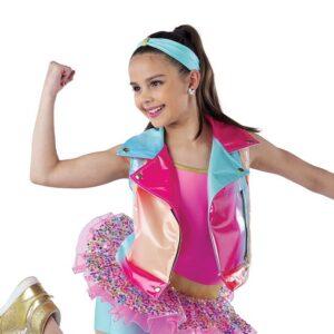 21820Y  Whats Poppin Vest Rainbow Vinyl Hip Hop Performance Dance Top
