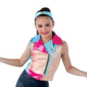 21820Y  Whats Poppin Vest Rainbow Vinyl Hip Hop Performance Dance Top A